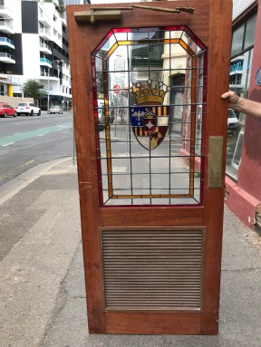 """Leadlight door, with louvre bottom, 875 mm wide x 2040 mm tall $ 850 """" DOOR E """" salvaged, recycled, demolition, reproduction, restoration, renovation,collectable, secondhand, used , original, old, reclaimed, heritage, antique, victorian, edwardian, georgian, art deco"""