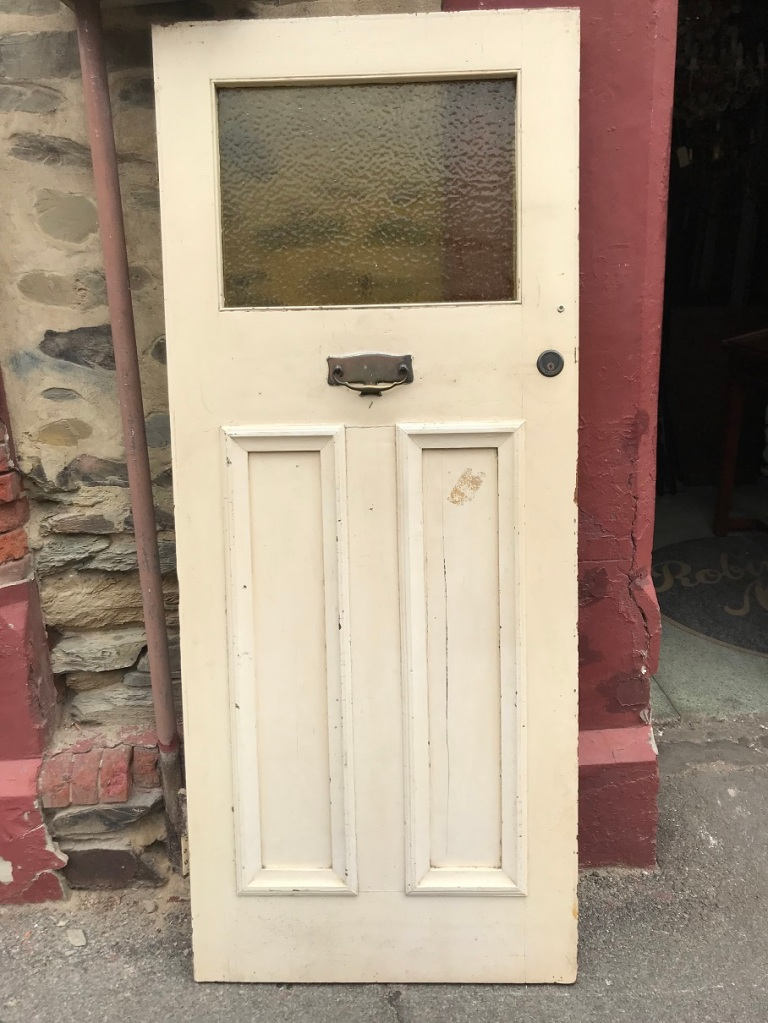 salvaged, recycled, demolition, reproduction, restoration, renovation,collectable, secondhand, used , original, old, reclaimed, heritage, antique, victorian, edwardian, georgian, deco Bungalow front door with knocker and rippled yellow glass , 855 mm wide x 2046 mm tall , $ 485