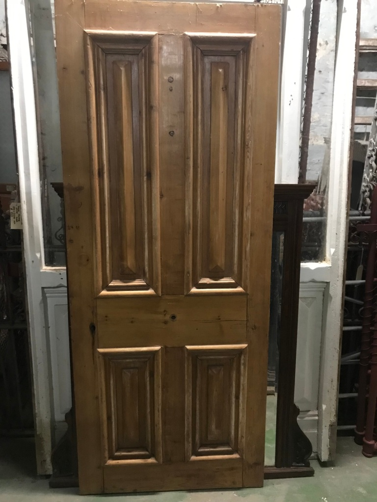 salvaged, recycled, demolition, reproduction, restoration, renovation,collectable, secondhand, used , original, old, reclaimed, heritage, antique, victorian, edwardian, georgian, deco Pine front door with cricket bats, 800 mm wide x 1965 mm tall x 40 mm thick , $ 345