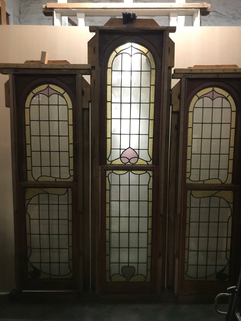 Lead light window, with 3 panels with curved tops, highest point is 2320 mm , outside panels are 2000 mm , overall width of window and Jarah step is 2040 mm , $ 1200