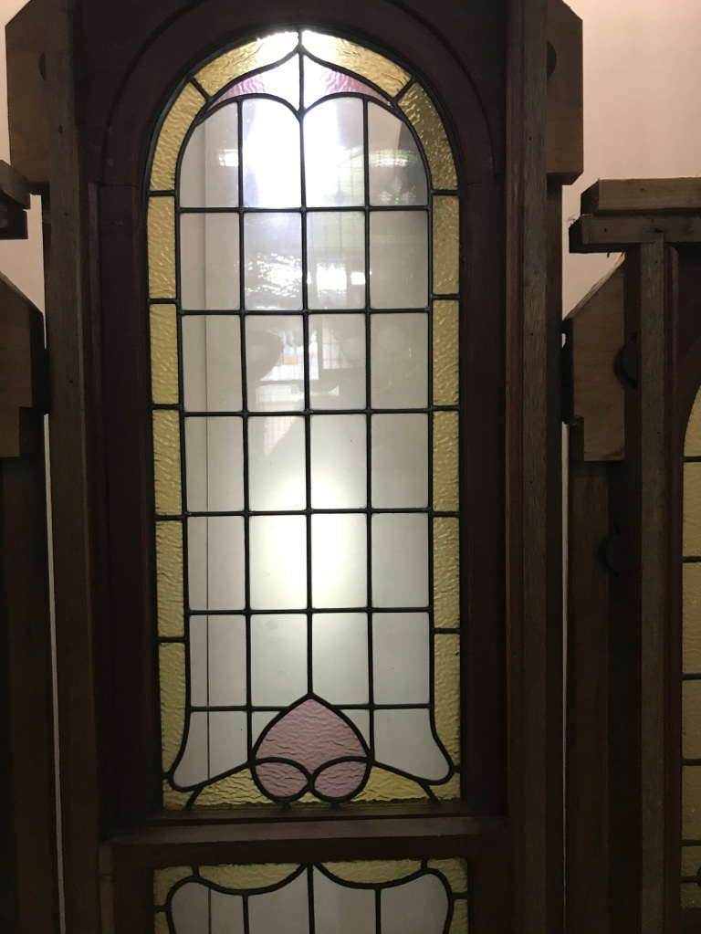 salvaged, recycled, demolition, reproduction, restoration, renovation,collectable, secondhand, used , original, old, reclaimed, heritage, antique, victorian, edwardian, georgian, deco Lead light window, with 3 panels with curved tops, highest point is 2320 mm , outside panels are 2000 mm , overall width of window and Jarah step is 2040 mm , $ 1200