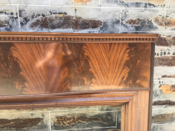 Very rare Bow fronted 1930's timber mantle, bookleafed mahogany veneer on the brestplate, top shelf measures 1465 mm , height is 1360 mm, opening size is 1040 mm wide x 1005 mm high, $ 850