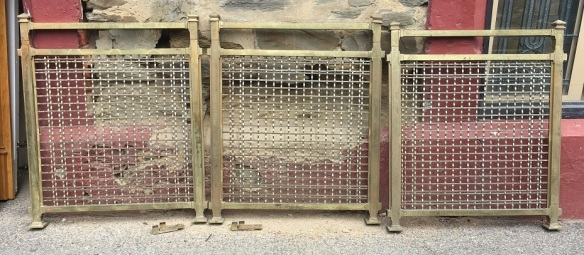 Original counter security screens ex-Adelaide Railway Station, brass finish, ripple mesh, width 760 x height 900mm, 5 complete + 1 missing the top end caps, $220 each
