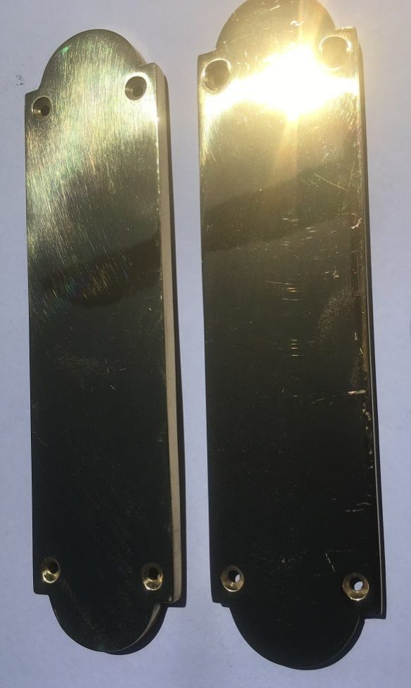 Solid brass door push plates, large quantity available, 203 x 51mm $25 each, $50 pair.