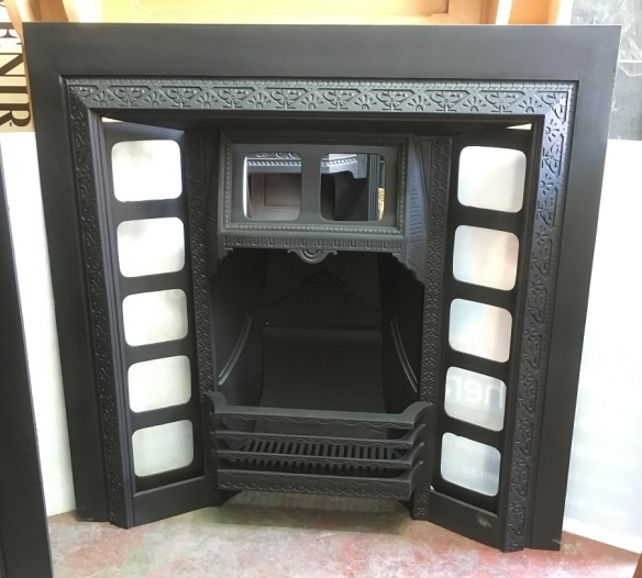 Restored original cast iron fireplace insert, hood designed for fireplace tiles, 965 x 965mm $550 salvaged, recycled, demolition, reproduction, restoration, renovation,collectable, secondhand, used , original, old, reclaimed, heritage, antique, victorian, edwardian, georgian, art deco wood burner, open fire