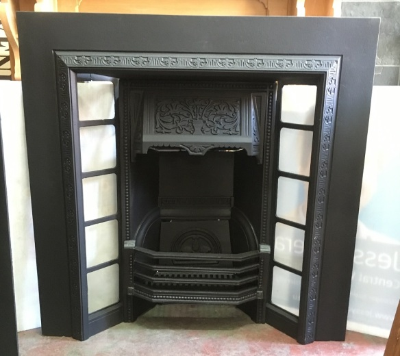 Restored, original Edwardian cast iron fireplace insert, 965 x 965mm $550 salvaged, recycled, demolition, reproduction, restoration, renovation,collectable, secondhand, used , original, old, reclaimed, heritage, antique, victorian, edwardian, georgian, art deco wood burner, open fire