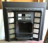 Restored original G and K No.12 cast iron fireplace insert, hood designed for fireplace tiles, 965 x 965mm $550