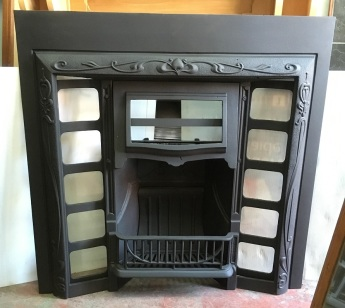 Restored original G and K No.12 cast iron fireplace insert, hood designed for fireplace tiles, 965 x 965mm $550 salvaged, recycled, demolition, reproduction, restoration, renovation,collectable, secondhand, used , original, old, reclaimed, heritage, antique, victorian, edwardian, georgian, art deco wood burner, open fire