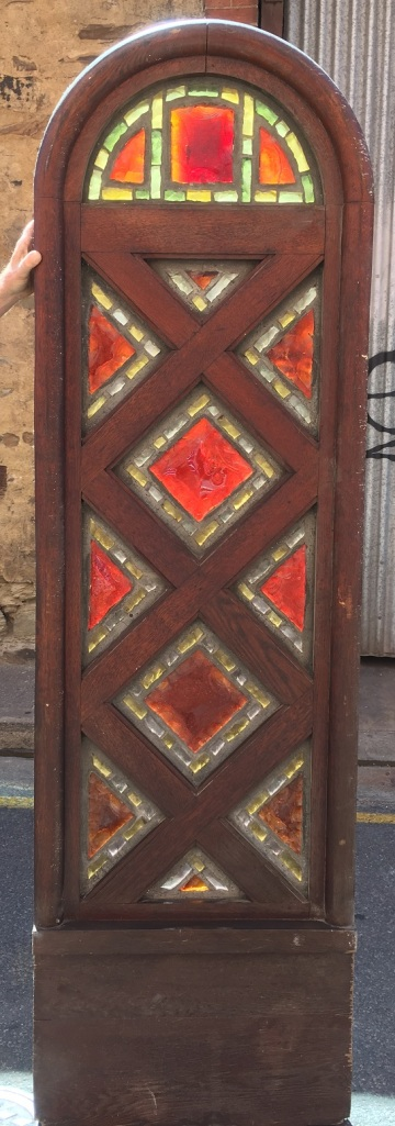 leadlight rare unusual Rare Dalle de Verre arch window, red and yellow cast glass slabs, estimate some to be at least 20mm thick, 635 x 2145mm $1650 salvaged, recycled, demolition, reproduction, restoration, renovation,collectable, secondhand, used , original, old, reclaimed, heritage, antique, victorian, edwardian, georgian, art deco