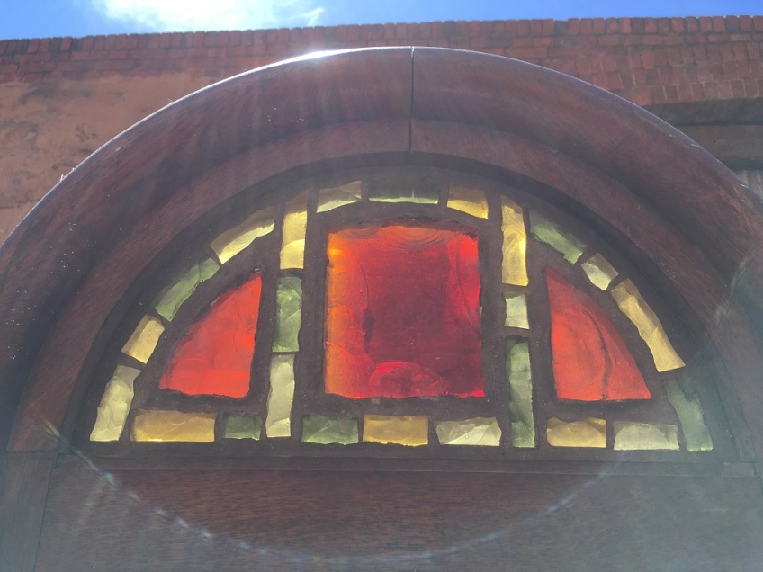 Rare Dalle de Verre arch window, red and yellow cast glass slabs, estimate some to be at least 20mm thick, 635 x 2145mm $1650 salvaged, recycled, demolition, reproduction, restoration, renovation,collectable, secondhand, used , original, old, reclaimed, heritage, antique, victorian, edwardian, georgian, art deco