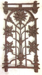 Verandah balustrade panels, cast iron, maple leaf motif. Grit blasted and coated with structural prime 8 available, h824 x w428mm $220 each