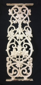 salvaged, recycled, demolition, reproduction, restoration, renovation,collectable, secondhand, used , original, old, reclaimed, heritage, antique, victorian, art nouveau edwardian, georgian, art deco Ornate original belly (curved) balustrade, cast iron, height 870 x width 310mm, 26 panels available, as is $85 each