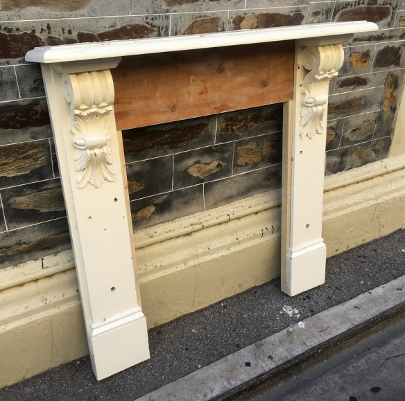 Small pine Victorian mantle piece, top shelf is 1235 mm x 1210 mm tall, opening is 720 mm wide x 900 mm tall , $ 300