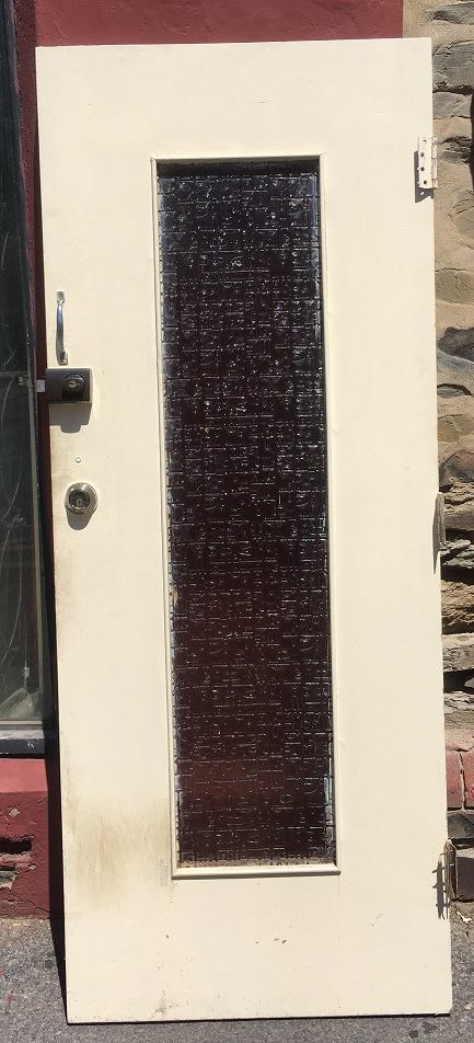 Mid century front door, solid timber, textured glass panel 815 x 2027mm $245