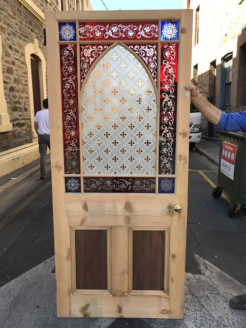 Fantastic original Victorian end of passage/ Astragal door, ornately etched red and blue glass, some of the finest etched glass we have seen, door has been stripped, 2070 mm tall x 907 mm wide x 47 mm thick , $1100