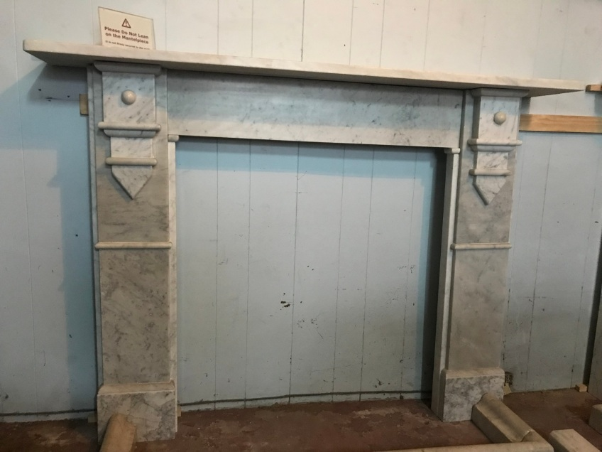 Unusual Georgian marble mantlepiece, top shelf is 1540 mm , overall height is 1130 mm , $ 2200