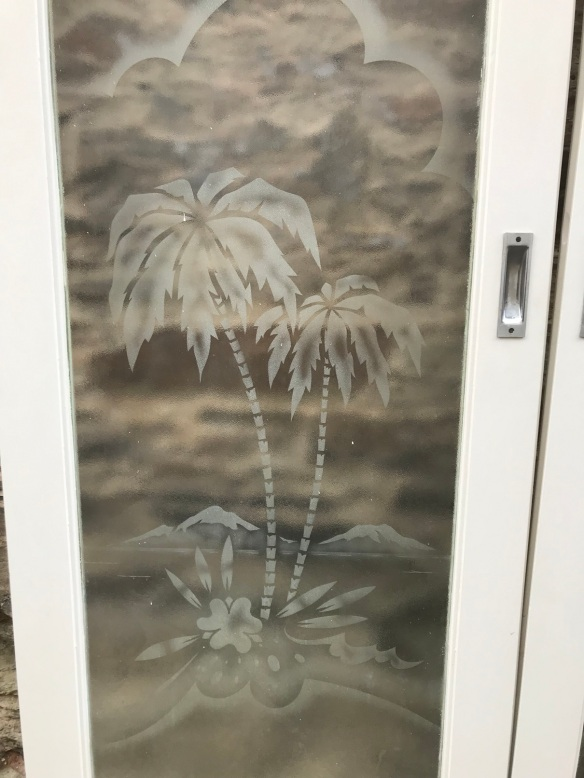 Pair of sliding French doors with etched Palm Trees , 1620 mm wide x 2035 mm tall , plus track, $ 695