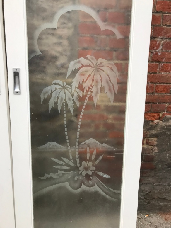 Detail of Pair of sliding French doors with etched Palm Trees , 1620 mm wide x 2035 mm tall , plus track, $550