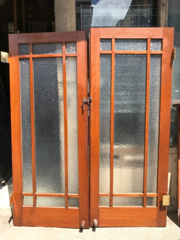Pair of French doors, frames are Australian oak, with textured glass, height is 2015 mm x 1600 mm wide , $Pair of French doors, frames are Australian oak, with textured glass, height is 2015 mm x 1600 mm wide , $Pair of French doors, frames are Australian oak, with textured glass, height is 2015 mm x 1600 mm wide , $
