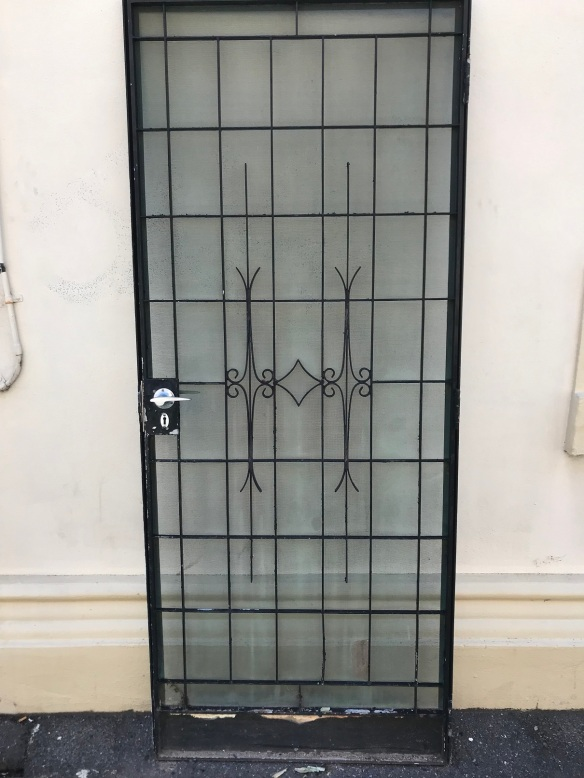 Steel security doors , double entrance , in steel frame and with key, 1658 mm wide x 2125 mm tall , $685