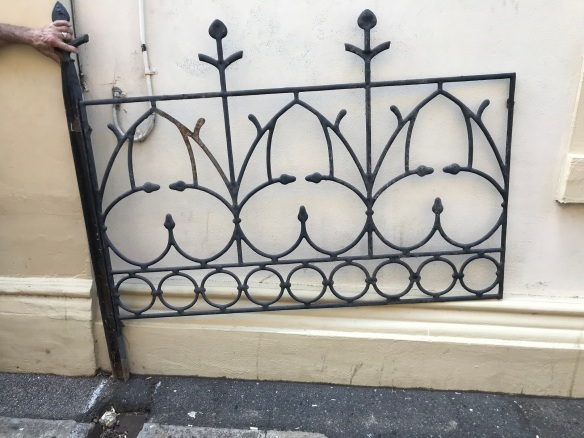 Decorative panels with posts, showing one panel from the pair of panels, each panel is 1660 mm long including post, panel height , rail to rail is 900 mm , rail to spear is 1140 mm , post height is 1540 mm , $ 650 the pair