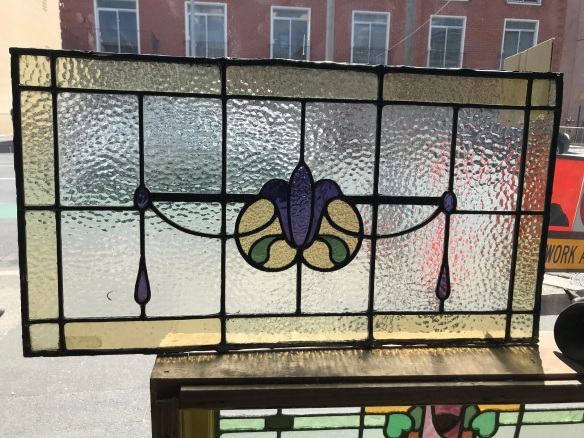 Original leadlight window panel, Art Nouveau, purple flower with warm pale yellow borders and green leaves, 760 mm x 415 mm , $ 250 salvage recycled demolition, reproduction restoration, renovation, collectable, secondhand, used, original, old, reclaimed heritage, antique restored stained glass