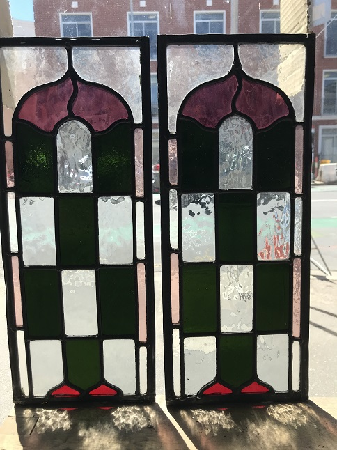 Pair of checker board pattern leadlight window panels ,deep green with clear, mauve and red glass, 495 mm x 200 mm $125 each salvage recycled demolition, reproduction restoration, renovation, collectable, secondhand, used, original, old, reclaimed heritage, antique restored stained glass