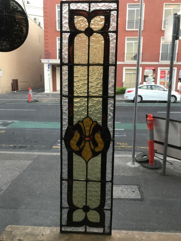 original lead light panel, with red, orange , amber and clear glass, 1067 mm x 251 mm , $ 285 salvage recycled demolition, reproduction restoration, renovation, collectable, secondhand, used, original, old, reclaimed heritage, antique restored stained glass