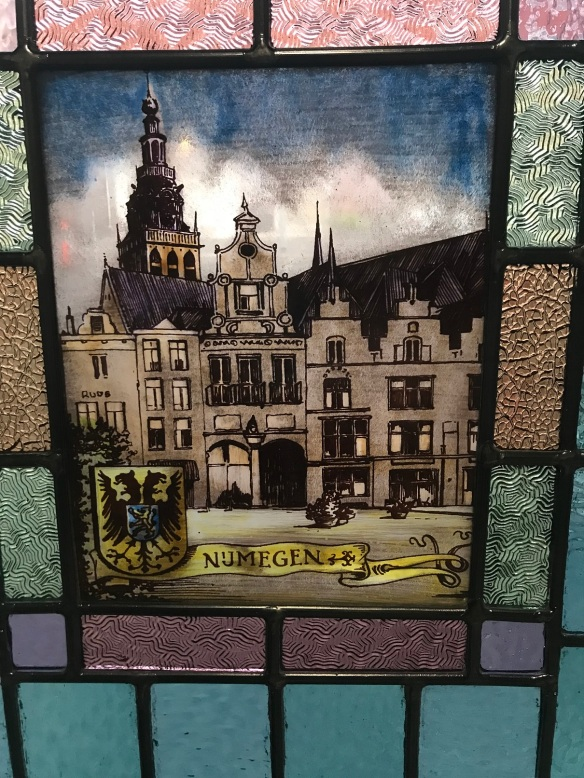 Hand painted leadlight panel of Nijmegen scene, Netherlands, salvage recycled demolition, reproduction restoration, renovation, collectable, secondhand, used, original, old, reclaimed heritage, antique restored stained glass