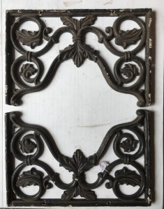 original cast iron double corners , 485 mm wide x 320 mm, 4 available, plus 2 x slightly smaller casting. $45 each