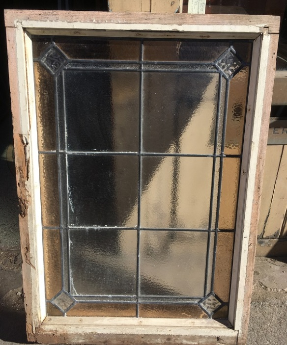 Original leadlight window in timber frame, textured clear and pale brown glass border, frame 685 x 912, glass 585 x 845mm $220 salvaged, recycled, demolition, reproduction, restoration, renovation,collectable, secondhand, used , original, old, reclaimed, heritage, antique, victorian, art nouveau edwardian, georgian, art deco