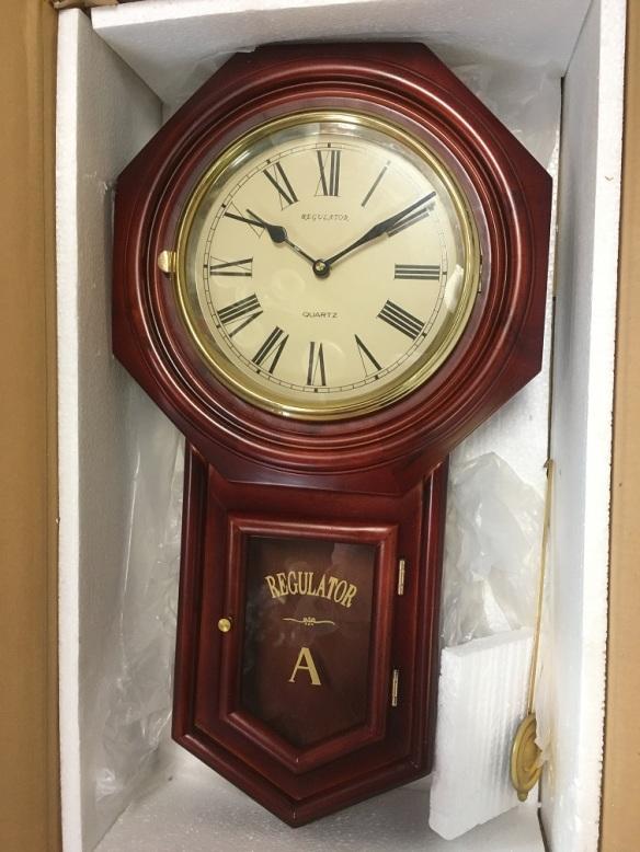 reproduction Regulator quartz clock, brand new in box, mahogany finish, height 570mm $220