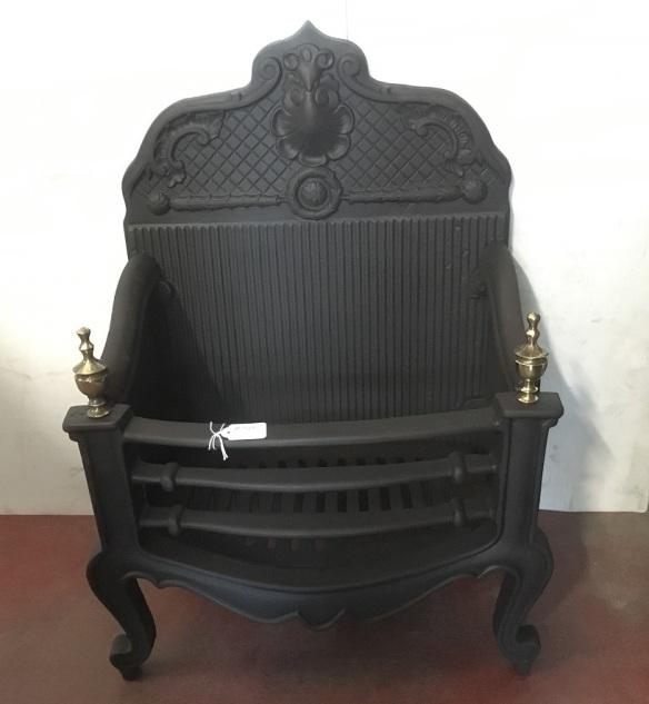 Freestanding original cast iron fireplace basket, restored, brass finials, w455 x h670 x d290mm, $345