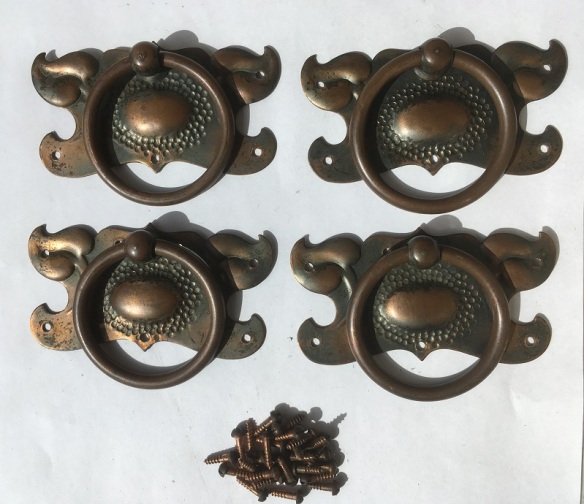 Art Nouveau original cupboard/drawer handle set, excellent condition with original Florentine bronze finish and dome top screws, 90mm wide, $75 set of four salvaged, recycled, demolition, reproduction, restoration, renovation,collectable, secondhand, used , original, old, reclaimed, heritage, antique, victorian, art nouveau edwardian, georgian, art deco