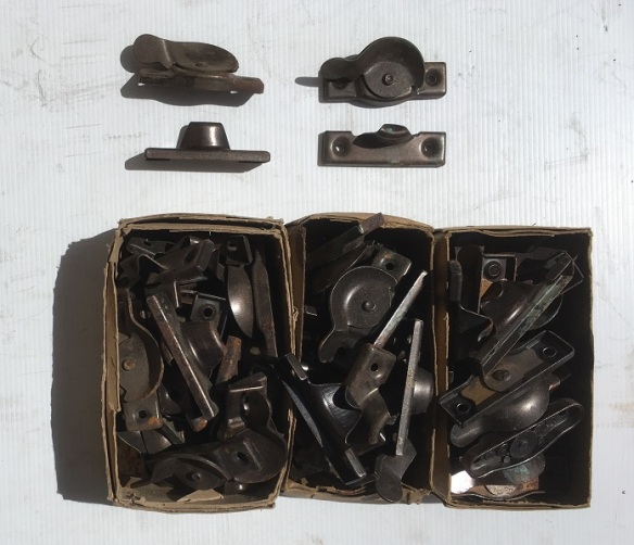 New old stock, sash window latches/locks, Florentine bronze finished steel, approx 50 available, $5 each