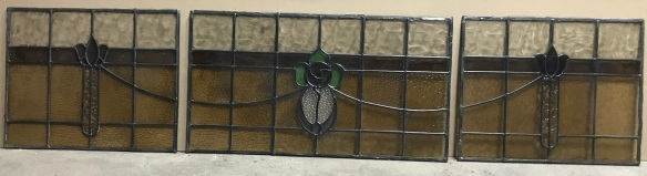 salvaged, recycled, demolition, reproduction, restoration, renovation,collectable, secondhand, used , original, old, reclaimed, heritage, antique, victorian, art nouveau edwardian, georgian, art deco Large set of leadlight panels , 3 in total making up one continuous panel , of 1988 mm x 470 mm, the wings are 570 mm x 470 mm each and the centre is 848 mm x 470 mm , $755 the set