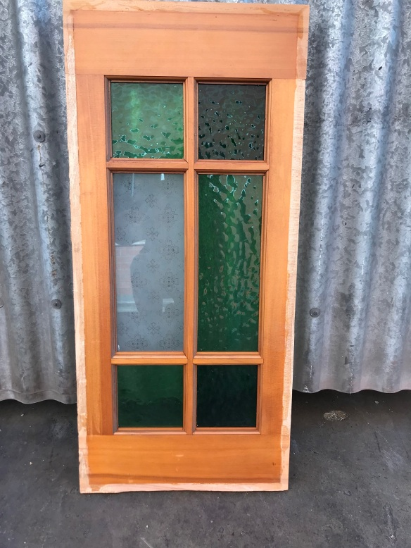 salvaged, recycled, demolition, reproduction, restoration, renovation,collectable, secondhand, used , original, old, reclaimed, heritage, antique, victorian, art nouveau edwardian, georgian, art deco Timber frame with coloured glass 350 mm x 760 mm , $ 45