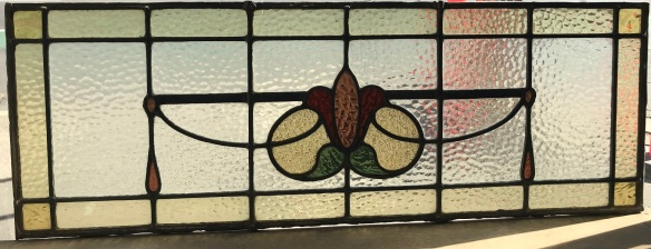 salvaged, recycled, demolition, reproduction, restoration, renovation,collectable, secondhand, used , original, old, reclaimed, heritage, antique, victorian, art nouveau edwardian, georgian, art deco original lead light fanlight panel , 855 mm wide x 305 mm , with red , green, amber and clear glass , $ 220