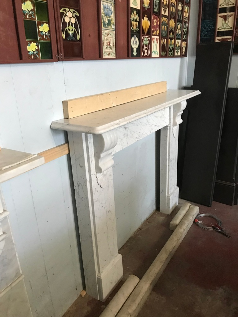 salvaged, recycled, demolition, reproduction, restoration, renovation,collectable, secondhand, used , original, old, reclaimed, heritage, antique, victorian, art nouveau edwardian, georgian, art deco Victorian Carrara Marble mantle piece , top shelf is 1590 mm long x 305 mm deep, opening is 910 mm x 910 mm , ( suit a standard cast iron fire register ) overall height is 1190 mm , $ 3500