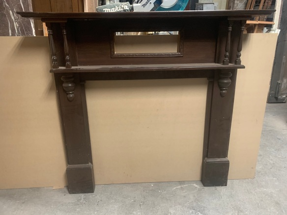 Original Edwardian style mantle piece, top shelf vis 1480 mm , over all height is 1385 mm , opening 915 mm wide x 925 mm tall , $330