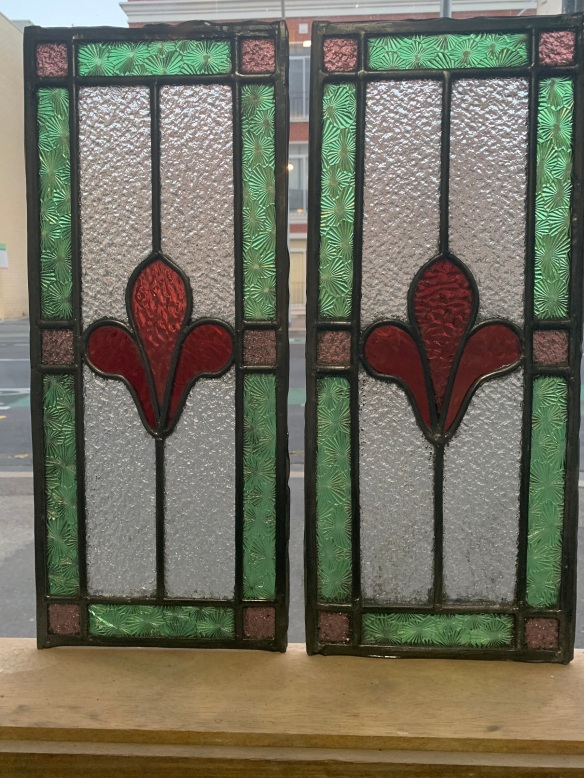 Pair of leadlight panels , 506 mm x 217 mm , with red, green , pink and clear rippled glass, $ 185 each panel