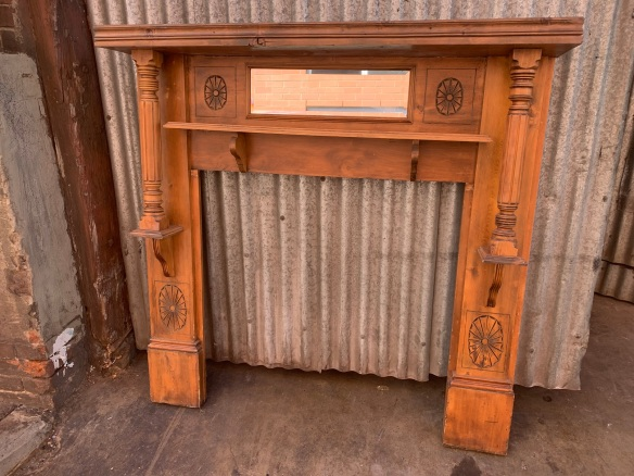 salvaged, recycled, demolition, reproduction, restoration, renovation,collectable, secondhand, used , original, old, reclaimed, heritage, antique, victorian, art nouveau edwardian, georgian, art deco original pine mantle , top shelf is 1375 mm height is 1365 mm , opening bis 920 mm x 920 mm , $ 220