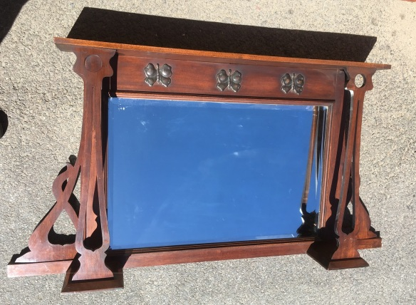 salvaged, recycled, demolition, reproduction, restoration, renovation,collectable, secondhand, used , original, old, reclaimed, heritage, antique, victorian, art nouveau edwardian, georgian, art deco Arts and Crafts/Art Nouveau timber overmantle, original, with stylised butterflies in Florentine bronze finish. width 1222 x height 640mm, $275