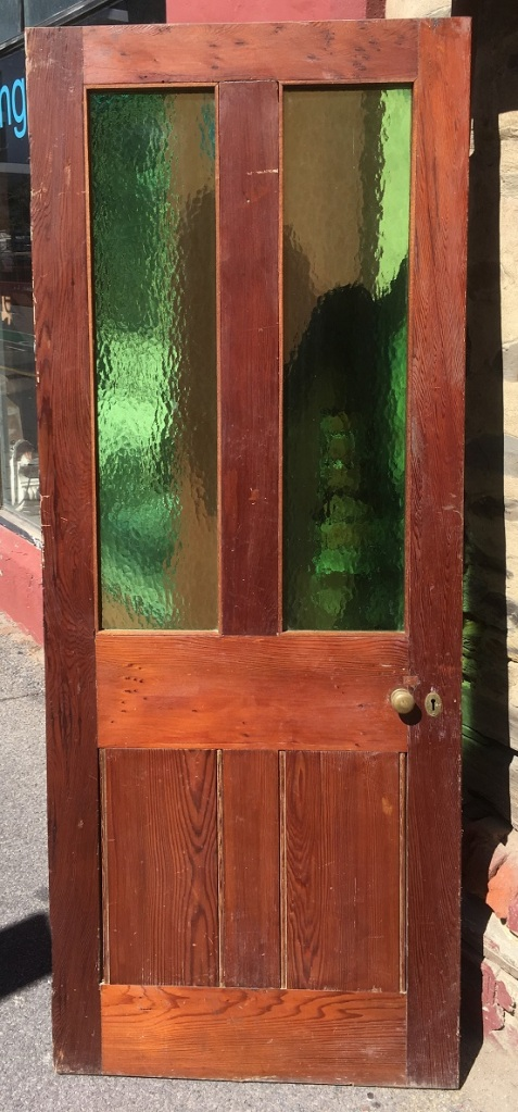 salvagedGlass topped door, 800 mm x 1995 mm , $ 160 recycled, demolition, reproduction, restoration, renovation,collectable, secondhand, used , original, old, reclaimed, heritage, antique, victorian, art nouveau edwardian, georgian, art deco