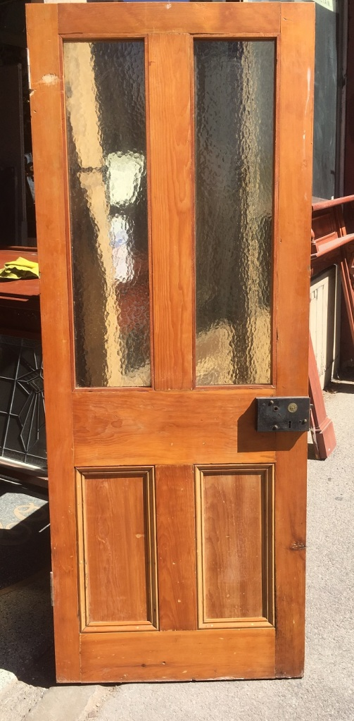 Glass top door with carpenter lock 767 mm x 1935 mm , $150salvaged, recycled, demolition, reproduction, restoration, renovation,collectable, secondhand, used , original, old, reclaimed, heritage, antique, victorian, art nouveau edwardian, georgian, art deco