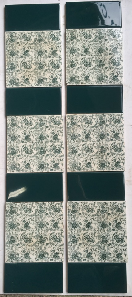 Late Victorian floral transfer print fireplace tiles, deep teal green on off white ground. $240 for the set OTB