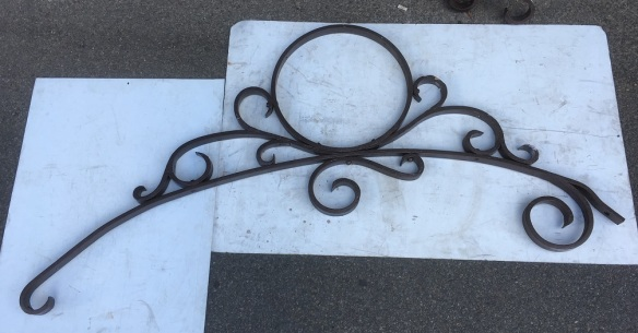 salvaged, recycled, demolition, reproduction, restoration, renovation,collectable, secondhand, used , original, old, reclaimed, heritage, antique, victorian, art nouveau edwardian, georgian, art deco Original Adelaide tram post bracket / scoll approx length 1640 x height 750mm, 6 available $220 each