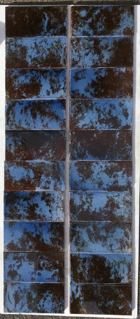 Unusual mottled sky/cornflower blue and deep chocolate brown fireplace tiles $230 the set OTB