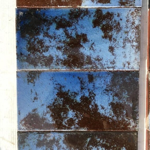 salvaged, recycled, demolition, reproduction, restoration, renovation,collectable, secondhand, used , original, old, reclaimed, heritage, antique, victorian, art nouveau edwardian, georgian, art deco mottled sky/cornflower blue and deep chocolate brown fireplace tiles $230 the set OTB