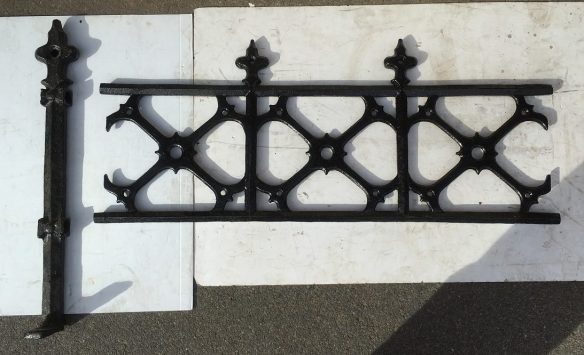 Cast iron fence panels and posts approx 13 metres, panel dimensions length 1190mm x height 490mm, 11 panels and 8 posts, $2200 for the set